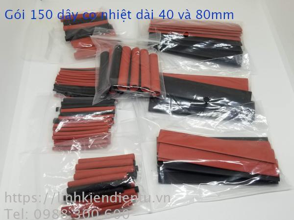 Gói 150 dây co nhiệt, màu đen, đỏ nhiều kích thước