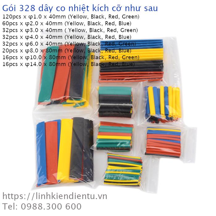 Gói 328 dây co nhiệt, nhiều kích thước và màu sắc