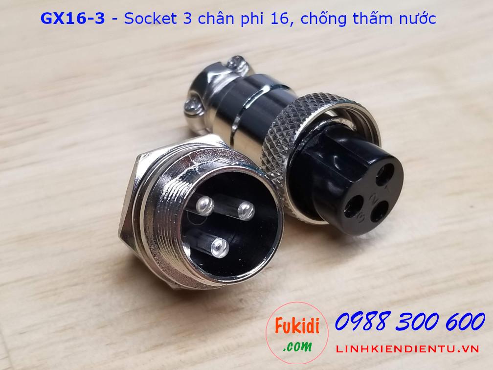 GX16-3 socket ra ba dây, đầu hàn chì, chống thấm, phi 16mm