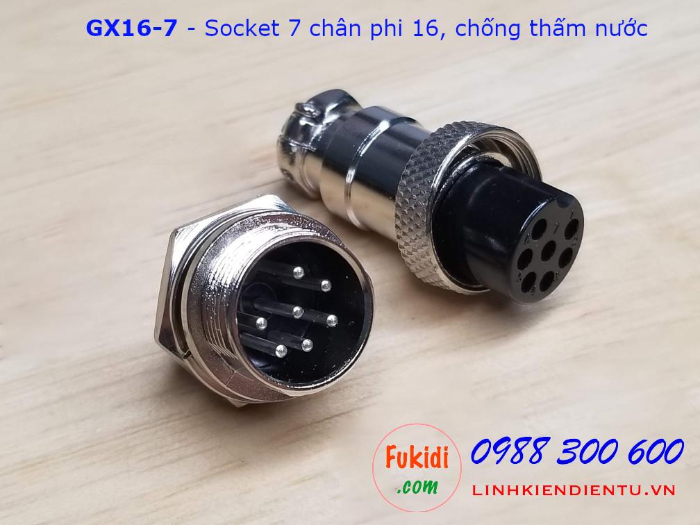 GX16-7 socket ra bảy dây, đầu hàn chì, chống thấm, phi 16mm