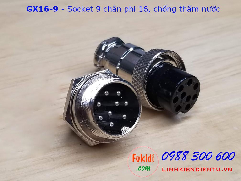 GX16-9 socket ra chín dây, đầu hàn chì, chống thấm, phi 16mm