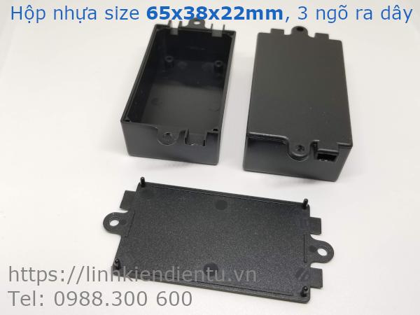 Hộp nhựa 65x38x22mm, 3 ngõ ra dây