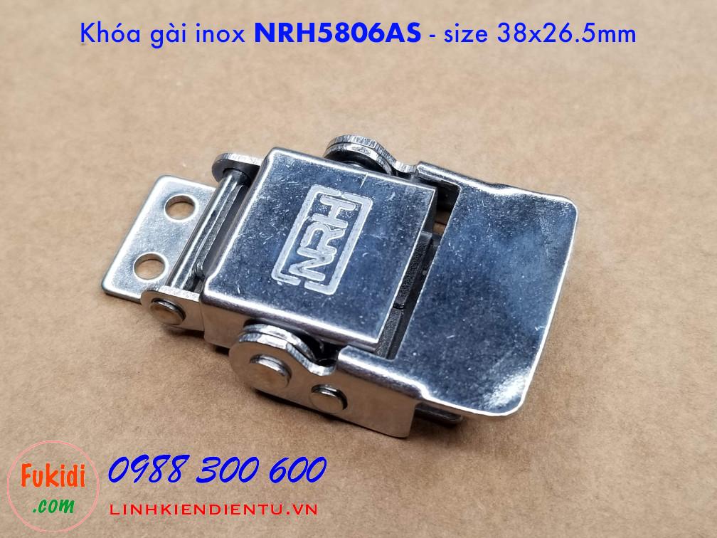 Khóa gài, khóa hộp gỗ NRH5806AS tay kéo có lò xo, chất liệu inox size 38x26mm