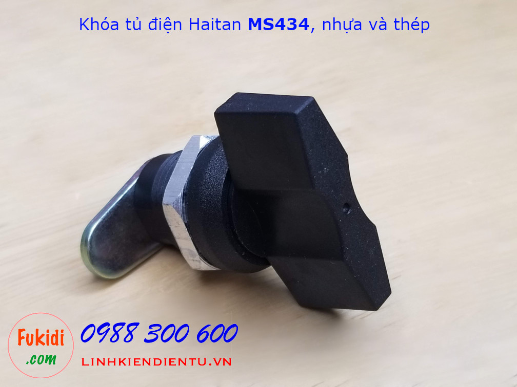 Khóa tủ điện Haitan MS434 chất liệu nhựa và thép, màu đen