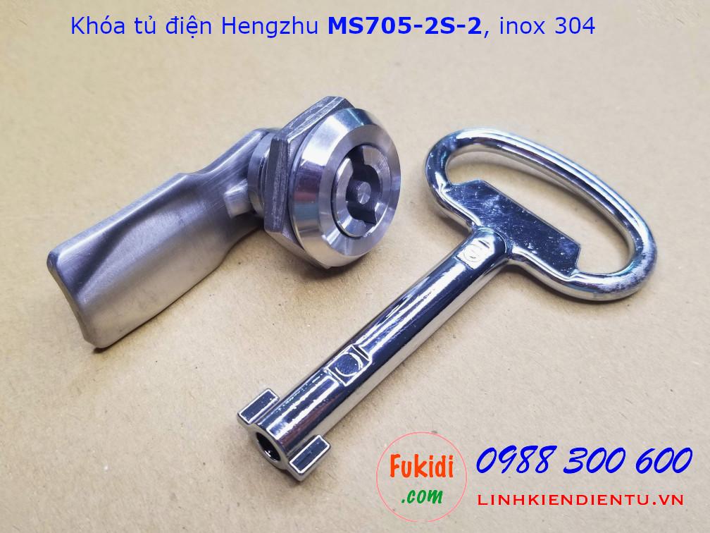 Khóa tủ điện Hengzhu MS705-2S-2 inox 304 đầu khóa chữ S