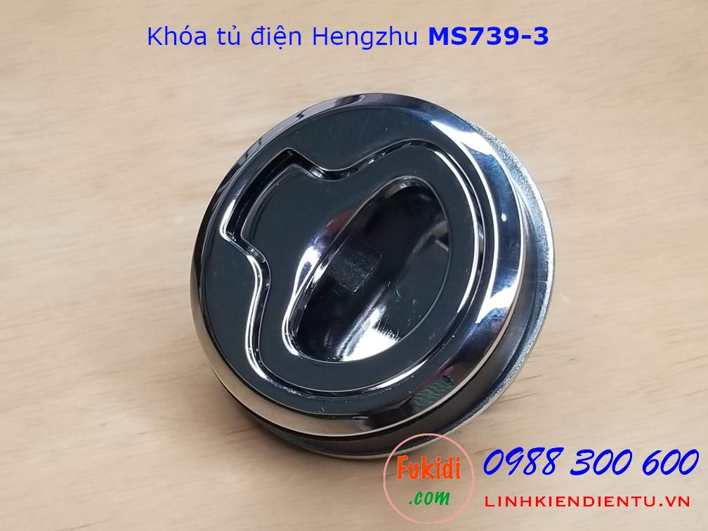 Khóa tủ điện Hengzhu MS739-3 hợp kim kẽm, hình tròn phi 40mm, không chìa, màu trắng sáng