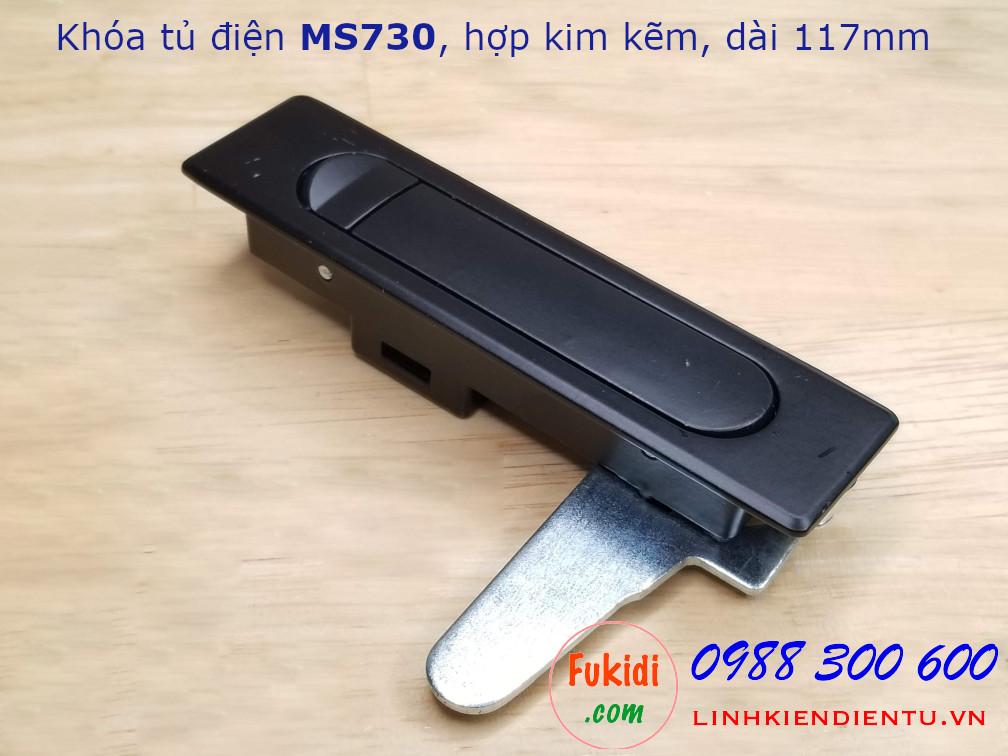 Khóa tủ điện hợp kim kẽm màu đen, dài 117mm MS730