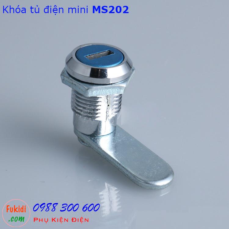Khóa tủ điện mini MS202-16 chiều dài 16mm, phi 12mm có chìa khóa