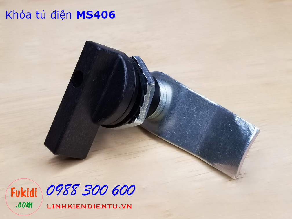 Khóa tủ điện MS406, chất liệu nhựa và thép, phi 22mm, cần gạt dài 47.5mm