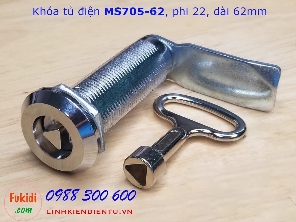 Khóa tủ điện tam giác MS705-62, phi 22mm dài 62mm - MS705-62TG