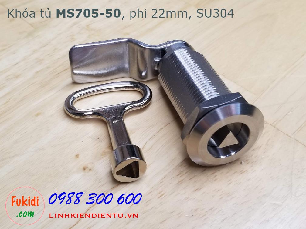 Khóa cửa tủ tam giác MS705-50 chất liệu SU304, thân dài 50mm, phi 22mm