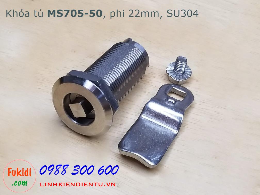Khóa cửa tủ vuông MS705-50 chất liệu SU304, thân dài 50mm, phi 22mm