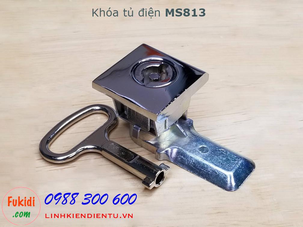 Khóa tủ điện MS813 chất liệu hợp kim kẽm màu trắng