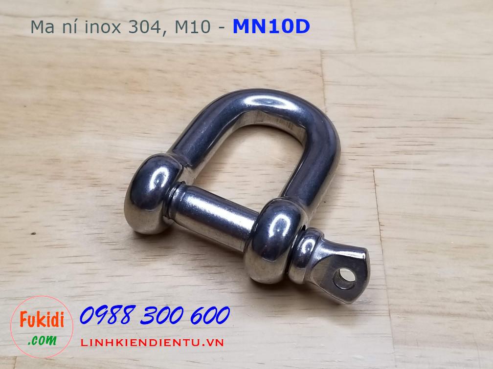 Ma ní inox hình chữ D M10, kiểu ren vặn, dùng nối dây xích - MN10D