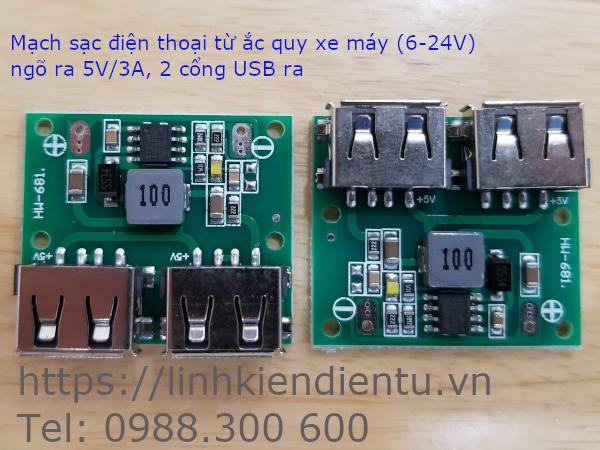 Mạch sạc điện thoại từ ắc quy xe - hai ngõ ra 5V/3A - HW-681