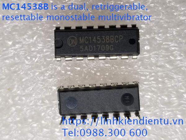 MC14538BCP is a dual, retriggerable, resettable monostable multivibrator