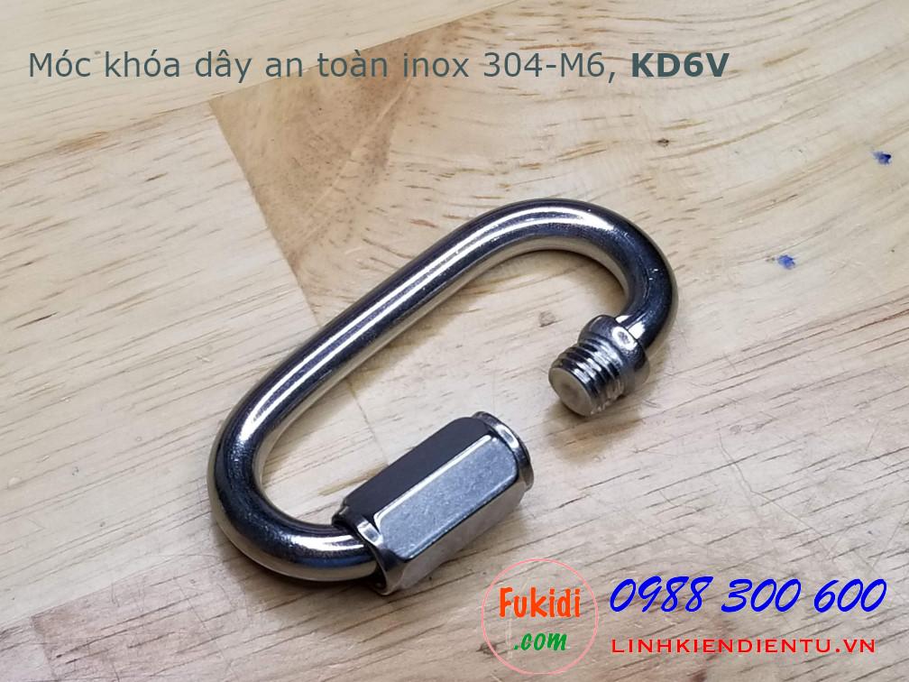 Móc khóa dây an toàn, khóa đai an toàn inox 304 M6, có ren vặn, model KD6V