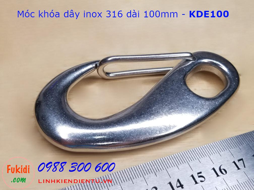 Móc khóa dây inox 316 hình ovan dài 100mm - KDE100