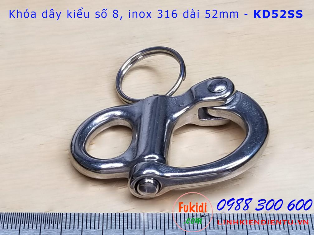 Móc khóa dây, móc nối dây xích inox 316 hình số 8 dài 52mm - KD52SS