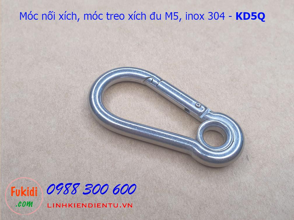 Móc nối xích, móc treo xích đu inox 304 size M5 tải 100kg - KD5Q