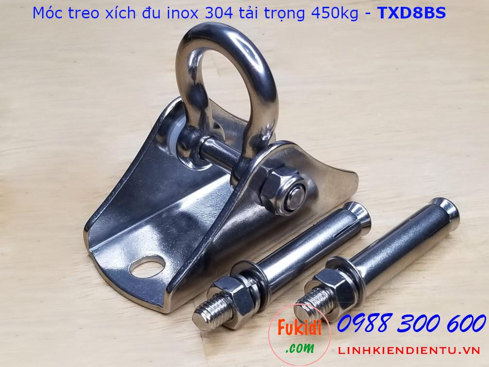 Móc treo xích đu, ghế đu, treo võng, tải 450kg inox 304 size M8 - TXD8BS