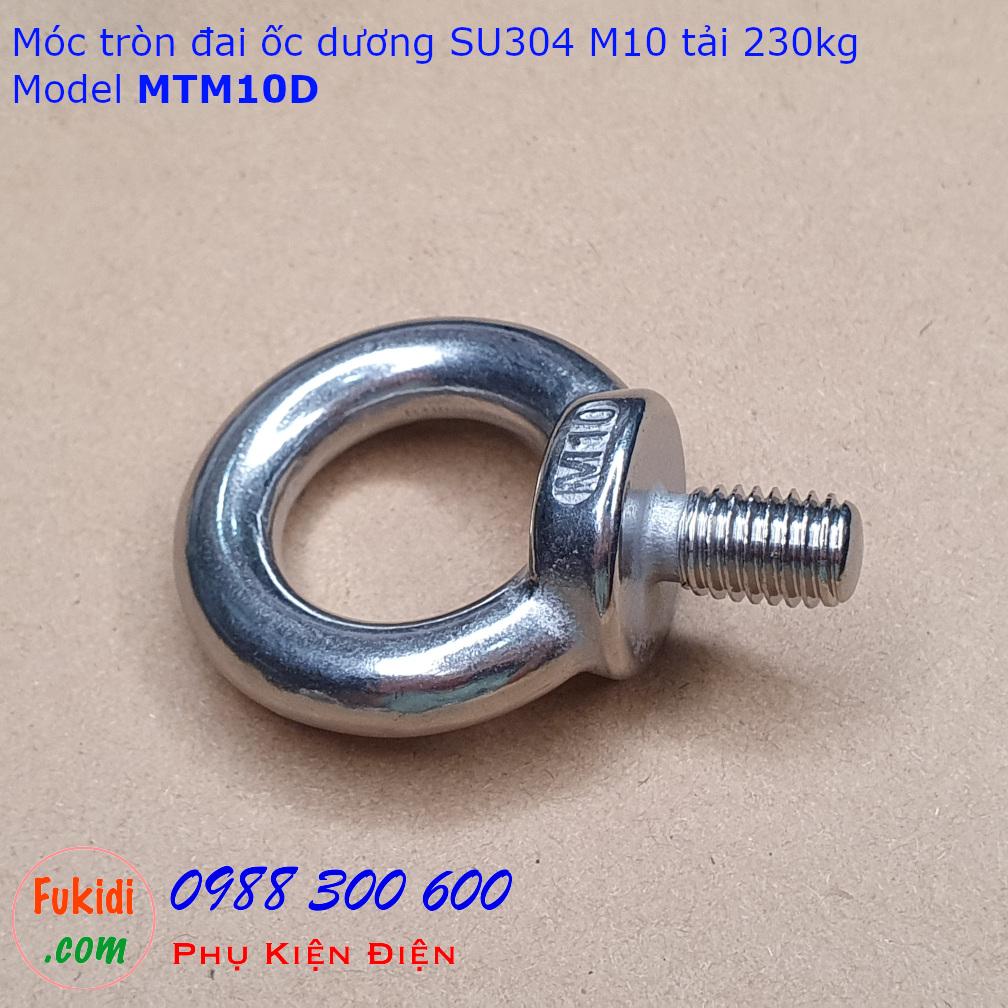 Móc tròn đai ốc, móc cẩu đai ốc dương inox 304 M10 tải 230kg - MTM10D