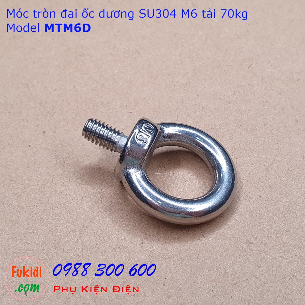 Móc tròn đai ốc, móc cẩu đai ốc dương inox 304 M6 tải 70kg - MTM6D