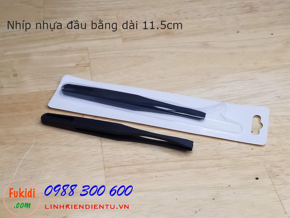 Nhíp nhựa đa năng, đầu bằng chiều dài 11.5cm màu đen