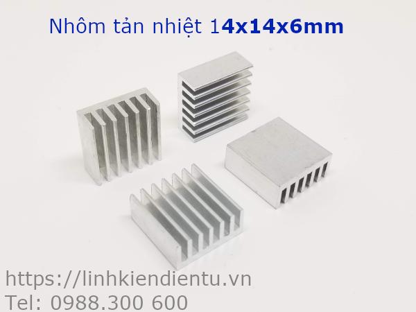 Nhôm tản nhiệt kích thước 14x14x6mm, màu trắng