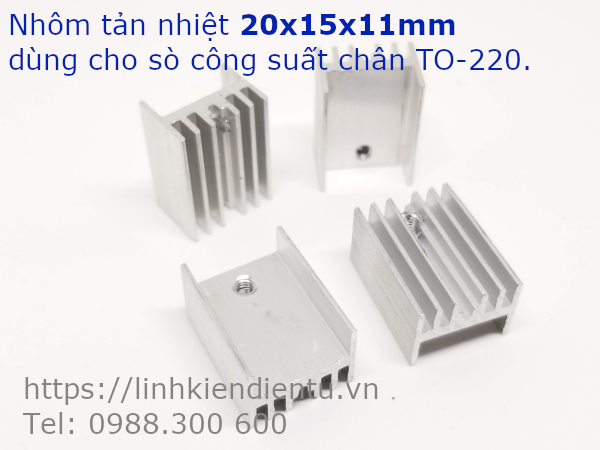 Nhôm tản nhiệt kích thước 20x15x11mm, dùng cho Transistor chân TO-220