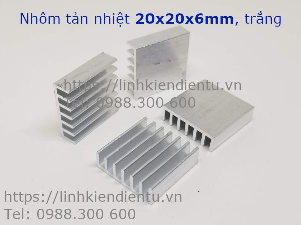 Nhôm tản nhiệt kích thước 20x20x6mm, màu trắng