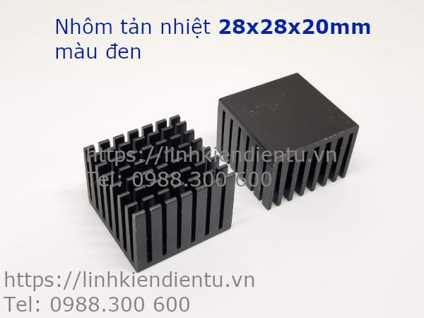 Nhôm tản nhiệt kích thước 28x28x20mm, màu đen