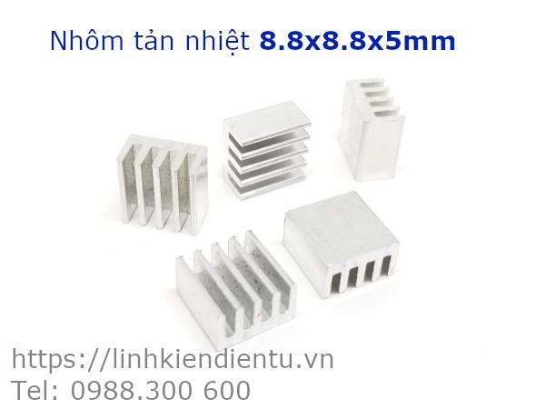 Nhôm tản nhiệt kích thước 8.8x8.8x5mm, màu trắng