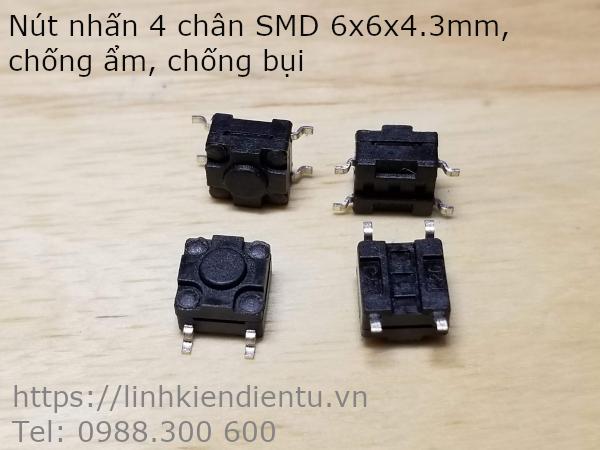 Tact Switch - nút nhấn 4 chân SMD, size 6x6x4.3mm, chống ẩm, chống bụi