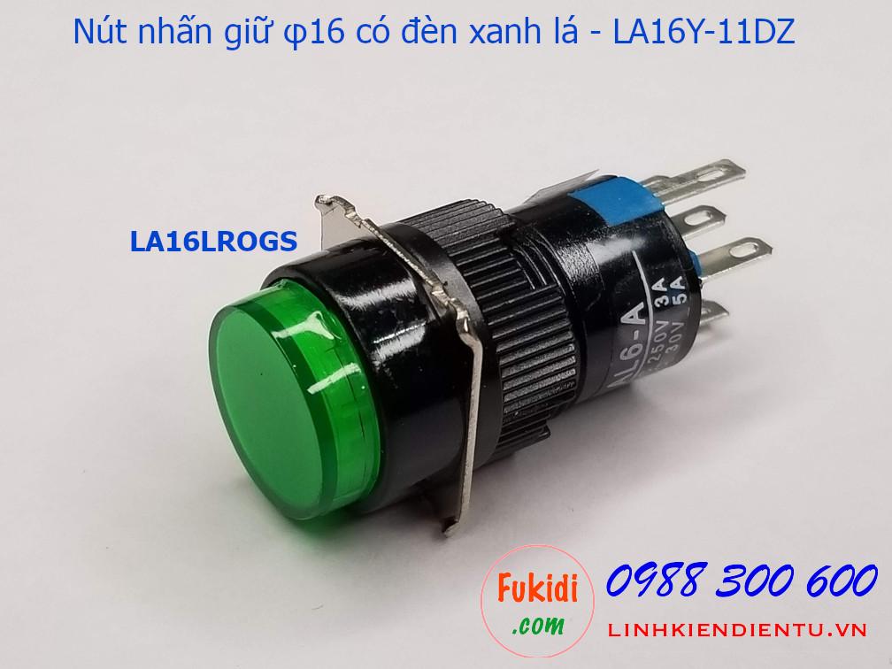 Nút nhấn giữ 16mm vỏ nhựa có đèn xanh lá 24V LA16Y-11DZ - LA16LROGS