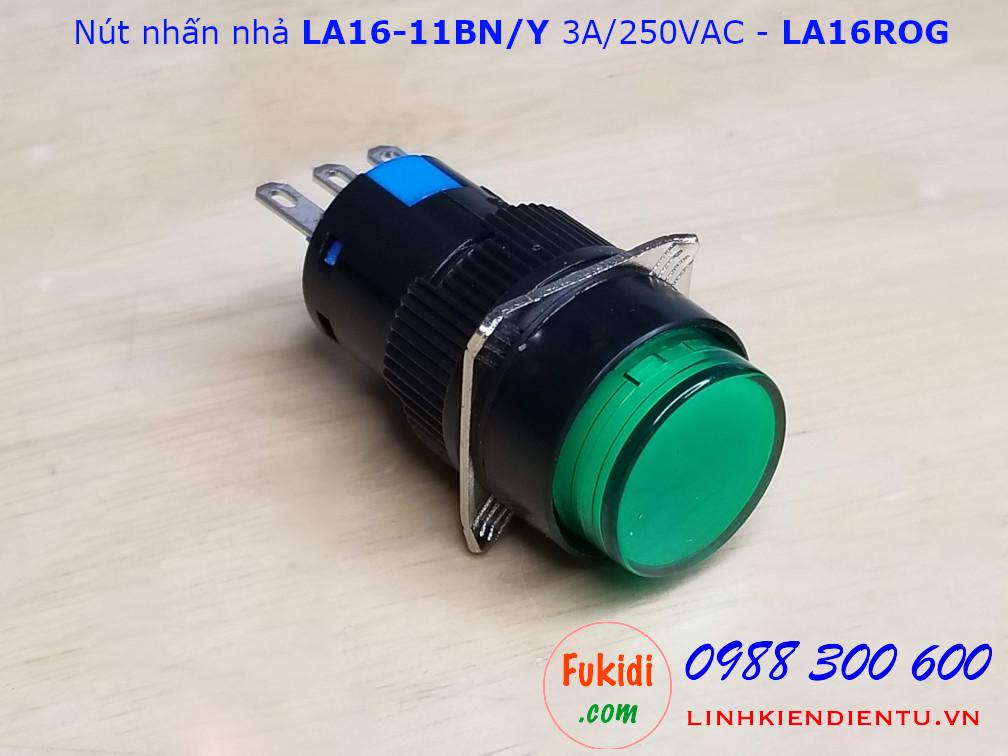 Nút nhấn nhả LA16-11BN/Y 3A/250VAC phi 16mm, tròn màu xanh - LA16ROG
