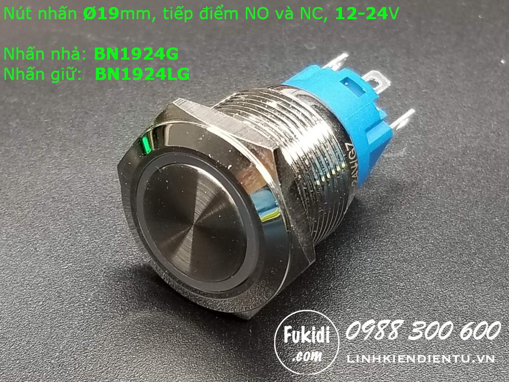 Nút nhấn giữ Ø19mm vỏ inox có đèn tròn màu xanh lá, điện áp 12-24V - BN1924LG