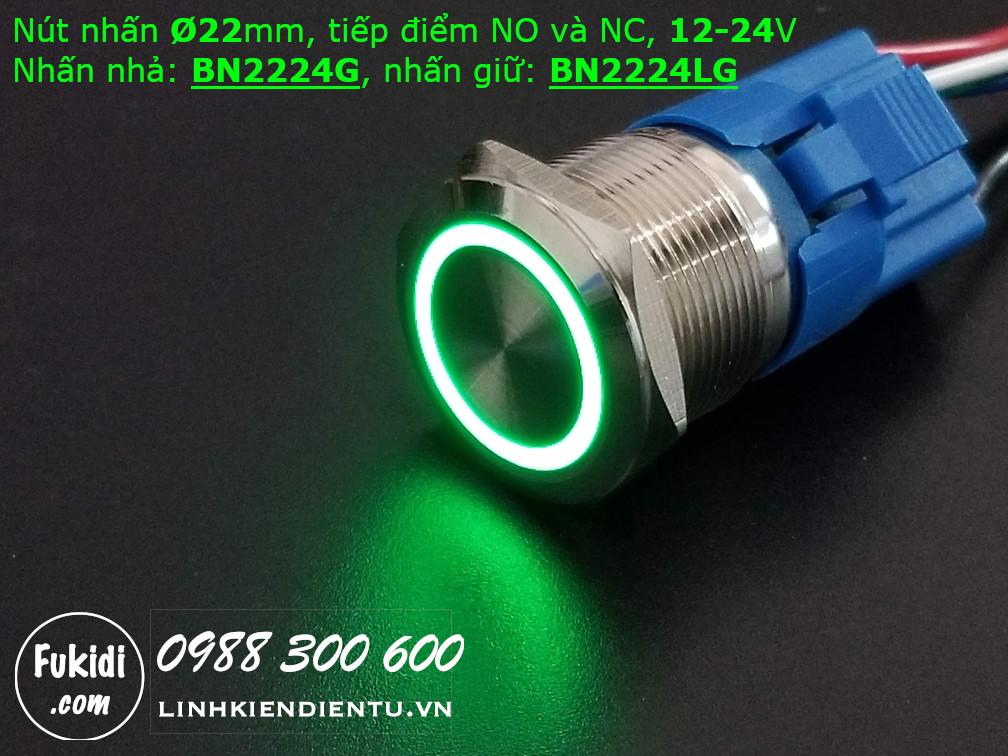 Nút nhấn giữ Ø22mm có đèn tròn màu xanh lá, điện áp 12-24V - BN2224LG
