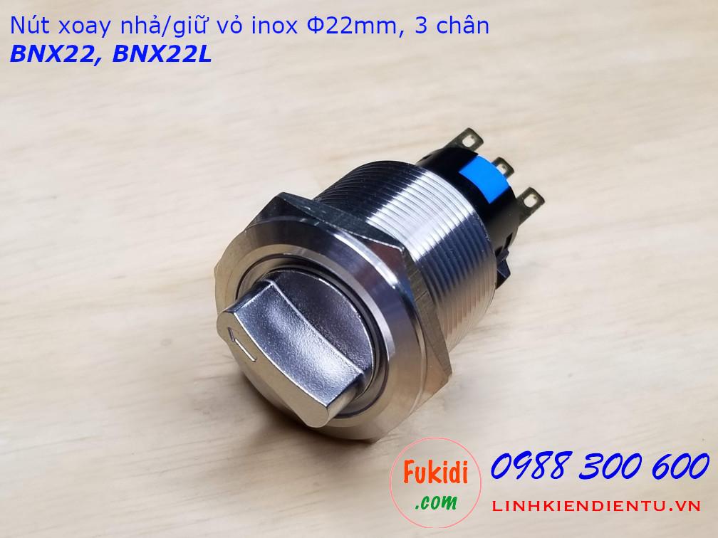 Nút xoay giữ vỏ inox 304 phi 22mm hai tiếp điểm NO-NC BNX22L