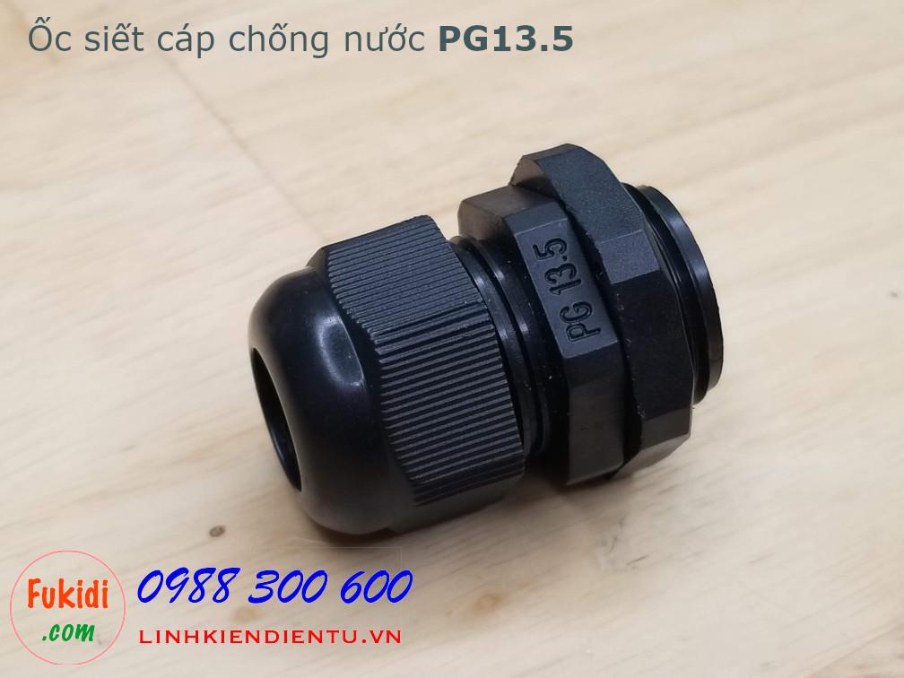 Ốc siết cáp điện chống nước PG13.5 dùng cho dây phi từ 6-12mm, màu đen