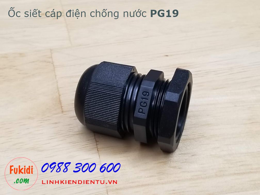 Ốc siết cáp điện chống nước PG19 màu đen, dùng cho dây có phi 12-15mm