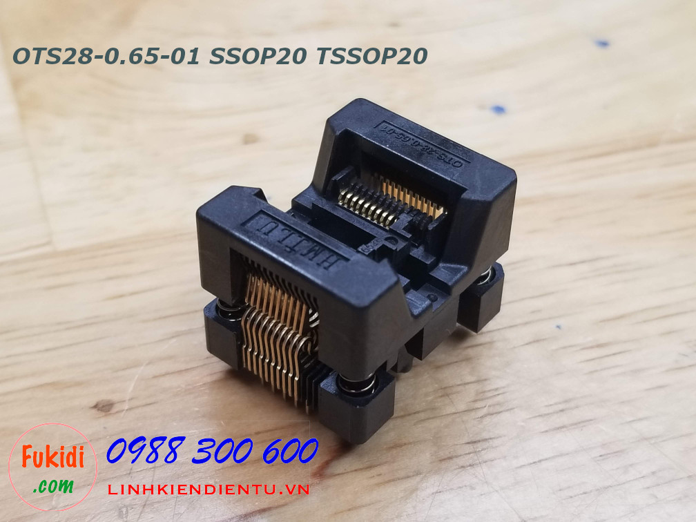 Đế test IC SSOP20 TSSOP20 chân IC 0.65mm,  OTS28-0.65-01