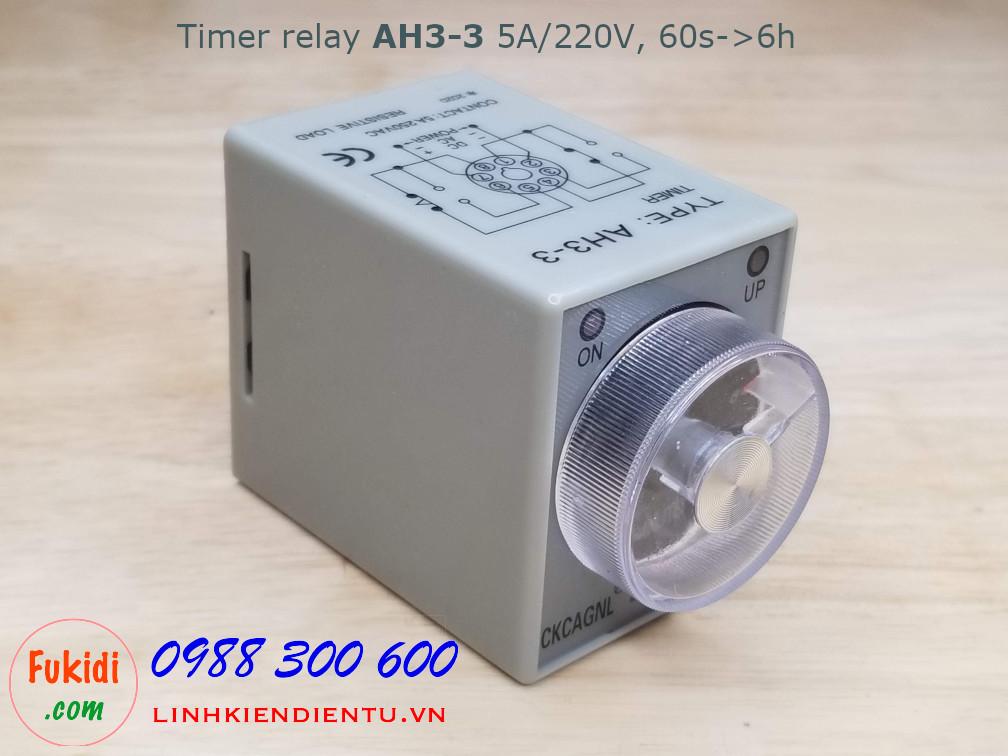Timer Relay AH3-3 5A 250V thời gian delay từ 60s đến 6h