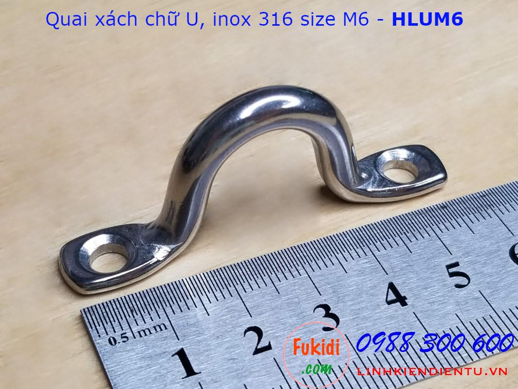 Quai xách chữ U M6 inox 316 chiều dài 58mm - HLUM6