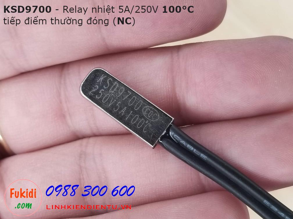 Relay nhiệt KSD9700 5A 250V 100°C, tiếp điểm thường đóng NC