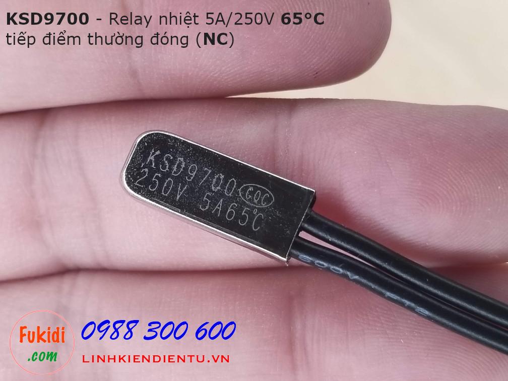 Relay nhiệt KSD9700 5A 250V 65°C, tiếp điểm thường đóng NC