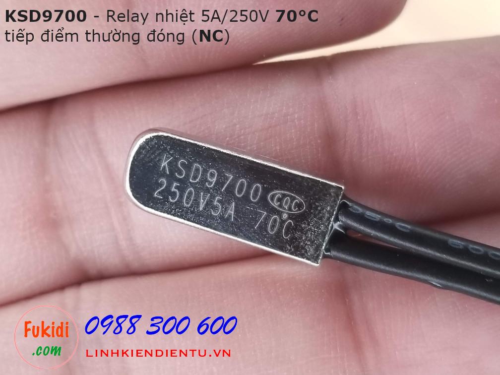 Relay nhiệt KSD9700 5A 250V 70°C, tiếp điểm thường đóng NC