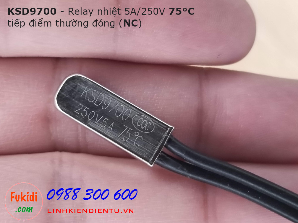 Relay nhiệt KSD9700 5A 250V 75°C, tiếp điểm thường đóng NC