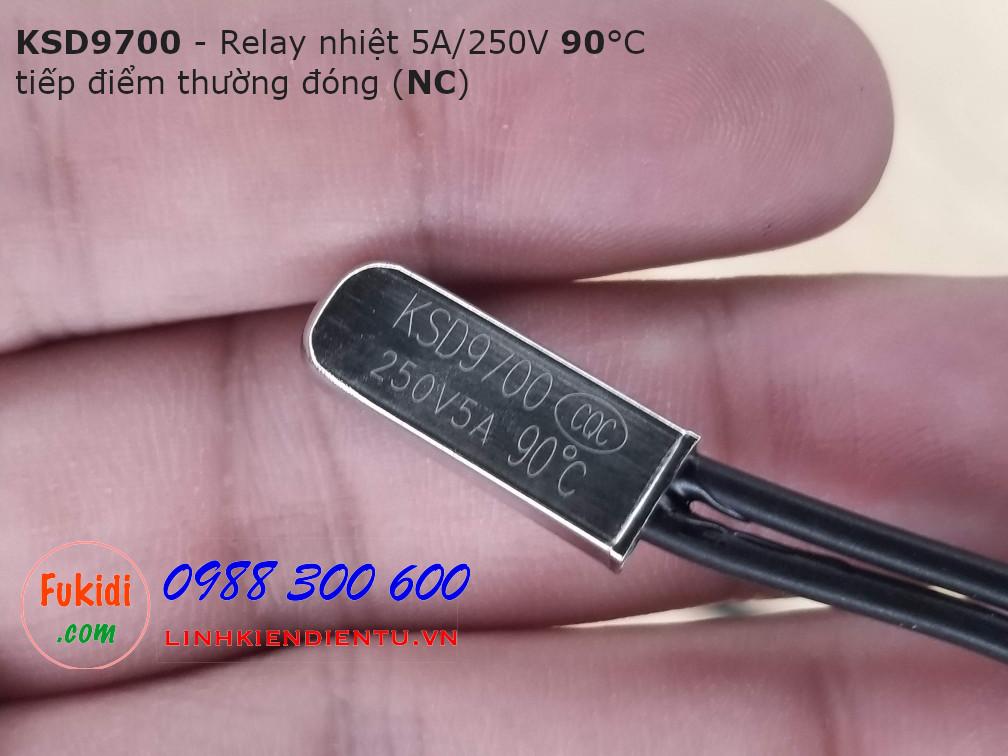 Relay nhiệt KSD9700 5A 250V 90°C, tiếp điểm thường đóng NC