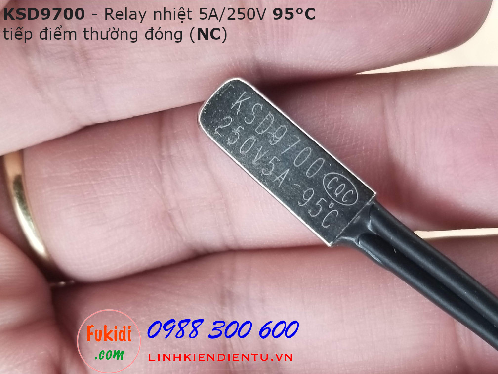 Relay nhiệt KSD9700 5A 250V 95°C, tiếp điểm thường đóng NC